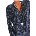 Womens Chic Floral Pattern Button V-Neck Long Sleeve Loose Casual Blouse Top