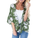 Summer Womens Holiday Green Floral Print Bell Sleeve Chiffon Beach Blouse
