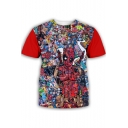 Funny Comic Character 3D Print Basic Round Neck Short Sleeve T-Shirt