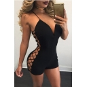 Womens Basic Plain V-Neck Sexy Hollow Out Lace-Up Side Bodycon Rompers