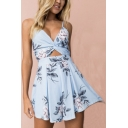 Sexy Girls Summer Fashion V Neck Floral Print Cutout Romper
