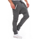 Men's New Fashion Solid Color Zip Embellished Low Crotch Casual Sweatpants Pencil Pants
