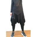 Men's New Stylish Simple Plain Zipper Embellished Black Loose Fit Drop-Crotch Harem Pants