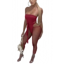 Womens Fashion Plain Sexy Straplessr Tie Waist Cutout Sheer Mesh Panel Skinny Fitted Jumpsuits