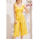 Womens Summer New Trendy Yellow Ruffled Trim High Waist Wide-Leg Holiday Jumpsuits