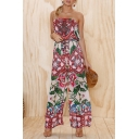 Summer Chic Floral Printed Strapless Casual Loose Holiday Wide-Leg Jumpsuits for Women