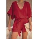 Plain Fashion Plunge V Neck Tie-Front Short Sleeves Chiffon Leisure Romper for Women