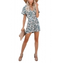 Summer Hot Popular Floral Print Button Down Short Sleeves Casual Holiday Romper