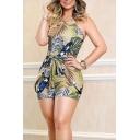 Summer Hot Sexy Trendy Leaf Print Halter Sleeveless Tie-Waist Skinny Fitted Romper for Women