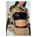Womens Cool Street Style Green Camo Printed Zipper Stand Collar Cropped Sweatshirt