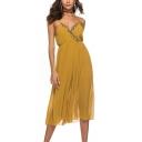 Folk Style Plunge V-Neck Straps Sleeveless Plain Embellish Detail Elastic Waist Flare Jumpsuits for Women