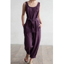 Womens Scoop Collar Sleeveless Tie-Waist Pocket Front Plain Casual Loose Jumpsuits