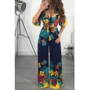 Popular Trendy V Neck Ruffle Short Sleeve Floral Printed Tie Back and Front Wide Leg Jumpsuits