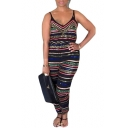 Hot Stylish V-Neck Straps Sleeveless Multicolor Striped Print Holiday Jumpsuits