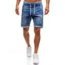 Men's Summer Trendy Vintage Washed Drawstring Waist Blue Casual Denim Shorts
