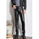 Men's Cool Fashion Solid Color Slim Fit Black PU Leather Pants
