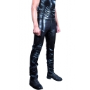 Men's Sexy Fashion Solid Color Patent Leather Patched Side Black Slim Fit Biker Pants