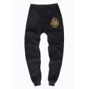 Guys Popular Fashion Cosplay Badge Printed Drawstring Waist Casual Cotton Sweatpants