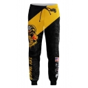 Hot Fashion Colorblock Cosplay Cobra Letter 3D Printed Black Casual Joggers Sweatpants
