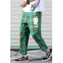 Men's Trendy Graphic Patchwork Plaid Pattern Drawstring Waist Casual Cotton Tapered Pants