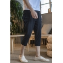 Men's Summer New Fashion Simple Plain Casual Cropped Linen Tapered Pants with Side Pockets
