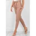Womens Hot Stylish Plain Paperbag Waist Bow-Tie Pocket-Front Ankle Grazer Pants