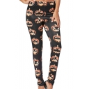 New Arrival Halloween Black Elastic Waist Pumpkin Print Skinny Pants Leggings for Women