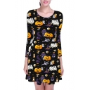 Hot Sale Fashion Halloween Pumpkin Ghost Print Round Neck Long Sleeve Mini A-Line Dress