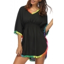 Summer Hot Fashion V Neck Cutout Black Half Bat Sleeves Pompom Trim High Waist Asymmetric Hem Mini Beach Dress