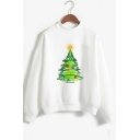 Fancy Christmas Tree Print Mock Neck Long Sleeve White Sweatshirt