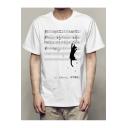 Funny Cartoon Cat Climbing Musical Note Basic Short Sleeve White T-Shirt