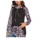 Womens Trendy Purple Leopard Print Slim Fitted Drawstring Hoodie