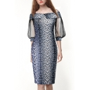 Fashion Hot Sale Womens Snakeskin Print Off Shoulder Lace Patch Sleeves Midi Chic Dress