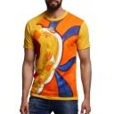 Fashion Abstract Painted Figure Graffiti Yellow Short Sleeve T-Shirt
