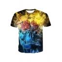Summer Cool Unique 3D Skull Printed Round Neck Short Sleeve Basic T-Shirt