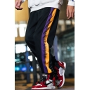 Guys Street Style Colorblock Stripe Letter Printed Elastic Cuffs Loose Fit Casual Track Pants