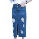 Wonens Fashion Plain Ripped Split Front Button Down Maxi Denim Skirt With Pocket