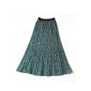 Womens Summer Hot Popular Leopard Print Elastic High Waist Pleated Maxi Skirt