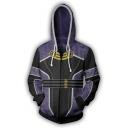 Effect Purple Game Comic Cosplay Costume Long Sleeve Sport Zip Up Hoodie
