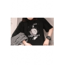 Funny Cartoon Astronaut Outer Space Print Black Loose Fit Graphic Tee