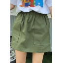 Summer Hot Fashion Plain High Elastic Waist Pocket Front Mini A-Line Skirt