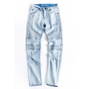Guys Trendy Light Blue Denim Washed Mid Waist Pleated Ripped Jeans