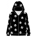 Fashion Allover Comic Heart Logo Print Long Sleeve Zip Up Hoodie