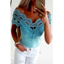 Womens Chic Lace-Panel Sexy Hollow Out Off Shoulder Plain Fitted T-Shirt