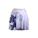 Womens Hot Popular White Wave Print High Elastic Waist Pleated Mini Skater Skirt