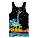 Summer Mens Unique Black Starry Dropped Oil Painting Coconut Print Tank Top