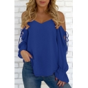 Womens Hot Fashion Cold Shoulder V Neck Chiffon Elastic Bell Sleeve Blouse