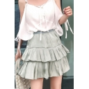 Summer Hot Sweet Plain High Waist Tiered Cake Puffy Mini Skirt for Women
