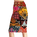 New Trendy Tribal Print High Waist Midi Pencil Skirt for Women