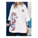 Summer New Arrival Vintage Chic Round Neck Dragon Sun Printed Oversize Loose T-Shirts